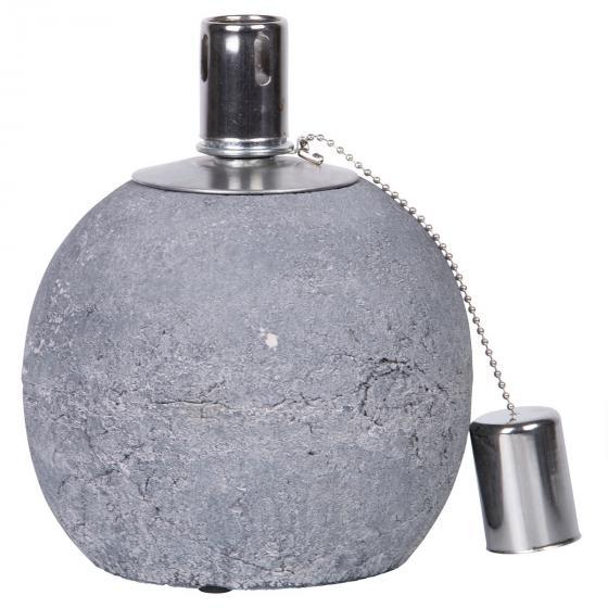 Tischöllampe Stone, 17x14x14 cm, Beton, Edelstahl, grau