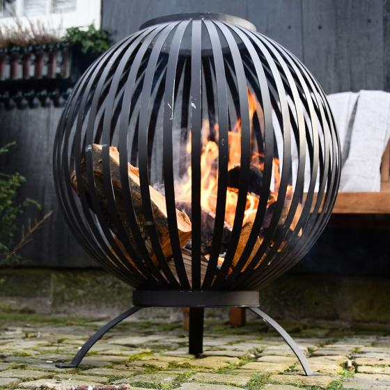 Feuerball Starlight, 74x59x59 cm, Karbonstahl, schwarz