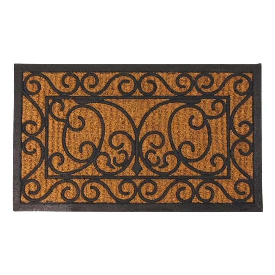 Fußmatte Charles, 1,1x44,5x74,5 cm, Gummi und Kokos, schwarz