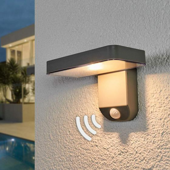 Solar-Außenwandlampe Maik mit Bewegungsmelder, 12x18x12,7 cm, Kunststoff, grau
