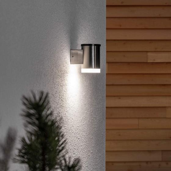 LED-Solar-Außenwandleuchte Tyson, 11,5x8x11,5 cm, Edelstahl, silber