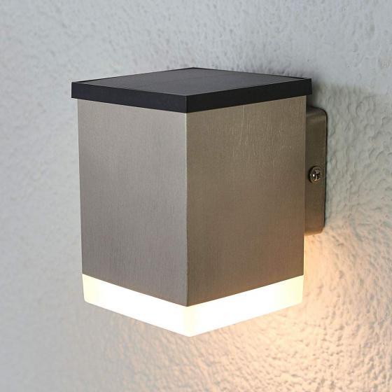 LED-Solar-Außenwandleuchte Tyson, eckig, 11,5x8,4x11,5 cm, Edelstahl, silber