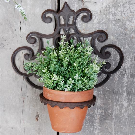 Pflanztopfhalter Lilie, 32x30x17 cm, Gusseisen, braun
