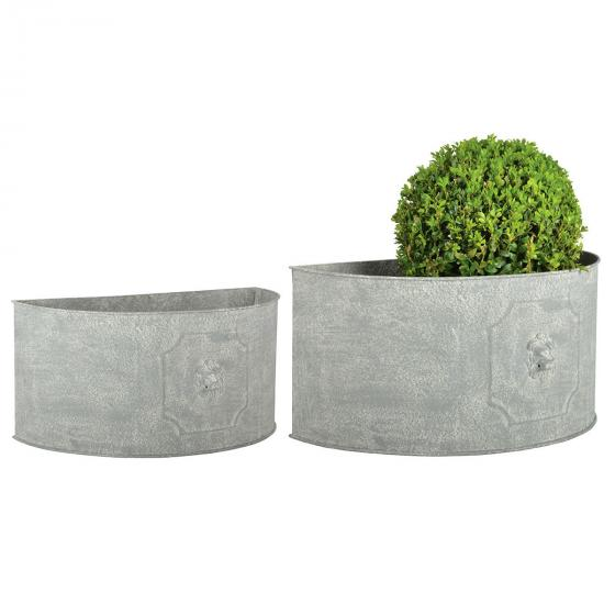 Esschert Design Pflanzkübel Rom, 2er-Set halbrund, Stahl, weiß