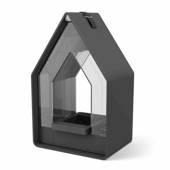 Futtersilo Landhaus, 15x10x24 cm, Kunststoff, granit
