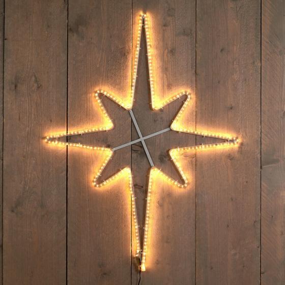 LED-Polarstern, 60x80cm, Kunststoff Metall, Metall weiß
