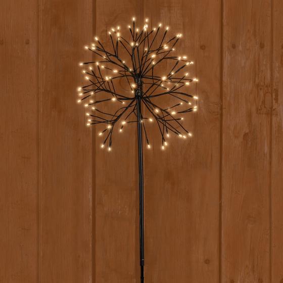 LED-Gartenstecker Sternenball, 80x40x40 cm, Metall, schwarz