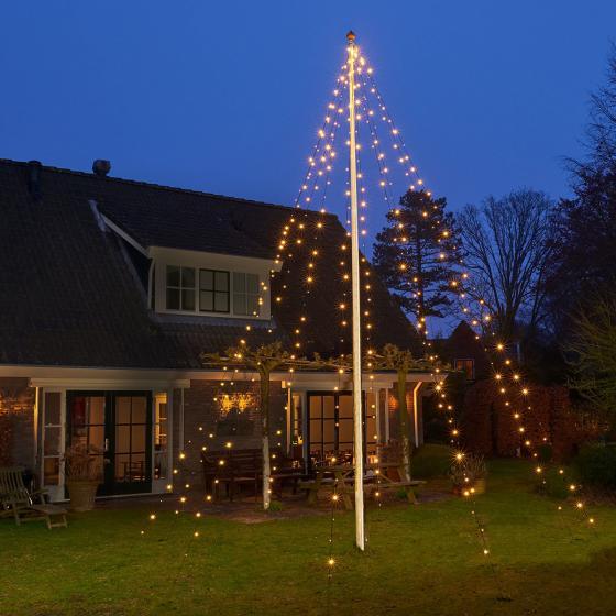 LED-Lichterkette für Fahnenmast, 360 LEDs, 700 cm, schwarz
