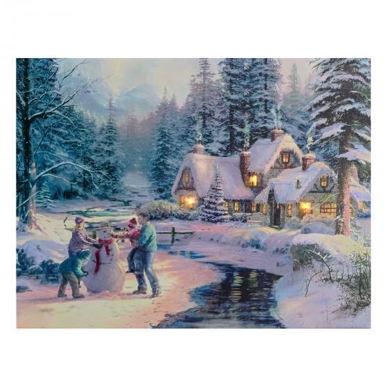 LED-Bild Winternostalgie, 40x30 cm, Leinwand Holz, bunt
