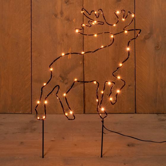 Micro-LED-Gartenstecker Rentier, 43x32 cm, Metall, schwarz