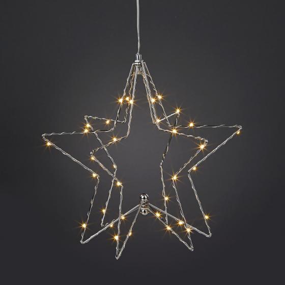 LED-2D/3D-Metallstern, 33x33x30, silber