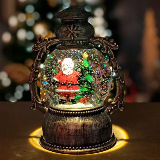 LED-Schneekugel Weihnachtsmann, 25x14x12 cm, Kunststoff, schwarz bronze