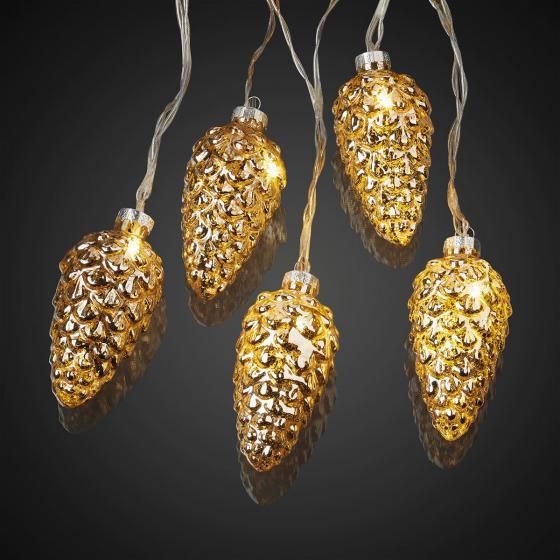 LED-Lichterkette Tannenzapfen, gold