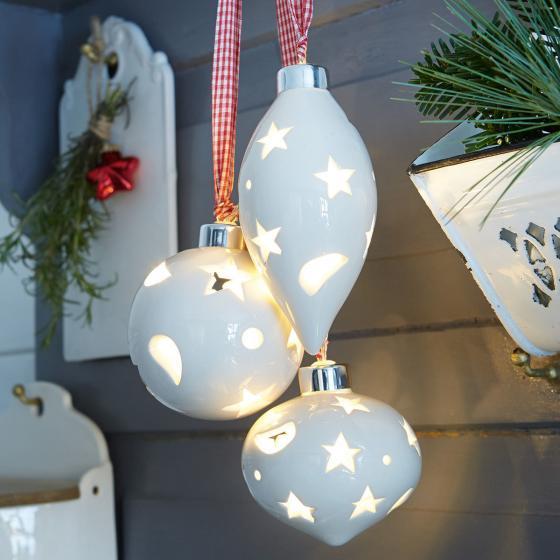 LED-Keramik-Kugeln 3er-Set, Keramik, weiß
