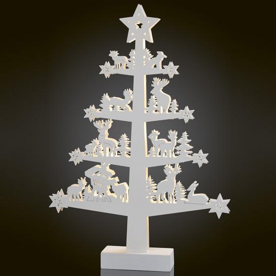 LED-Baum mit Waldtieren, 32,5x5,5x46,5 cm, weiß