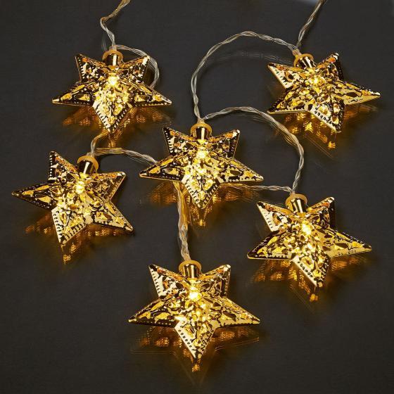 LED-Lichterkette Sterne, 135 cm, Metall, gold
