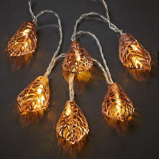 LED-Lichterkette Blätter, kupfer