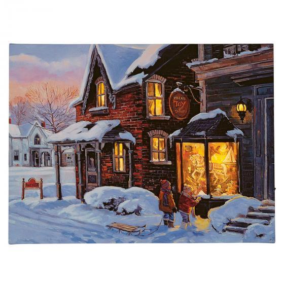 LED-Bild Spielzeuggeschäft im Winter, 40x2,5x30 cm, bunt
