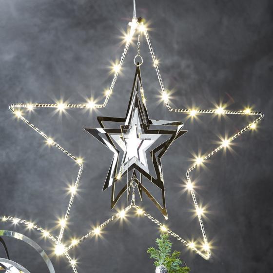 LED-Fensterdeko 3D-Stern, 30 cm, Metall, silber