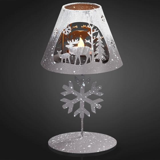 Deko-Lampe mit LED-Teelicht, 13,2 x 13,2 x 29 cm, grau