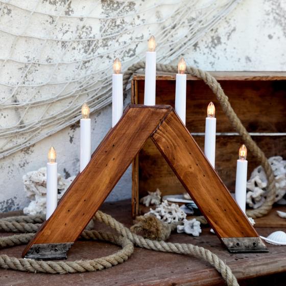 Fensterleuchter Viking, 37x42x6 cm, Holz, natur
