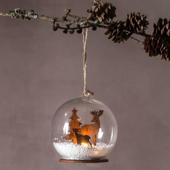Star LED-Dekokugel Fauna, 9x8x8 cm, Glas, klar natur