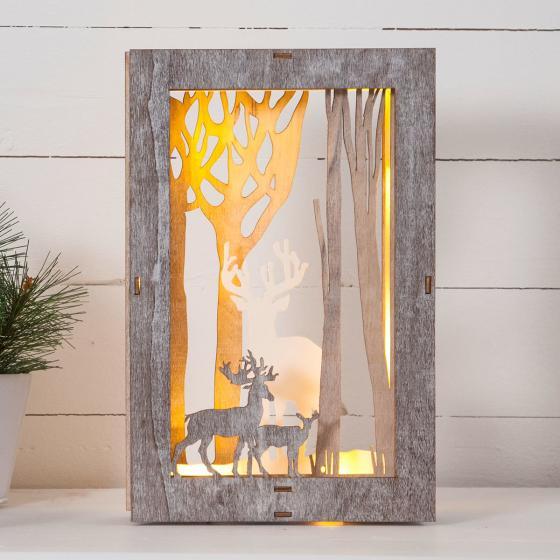 Star LED-Bild Fauna, 18x6x28 cm, Holz, braun