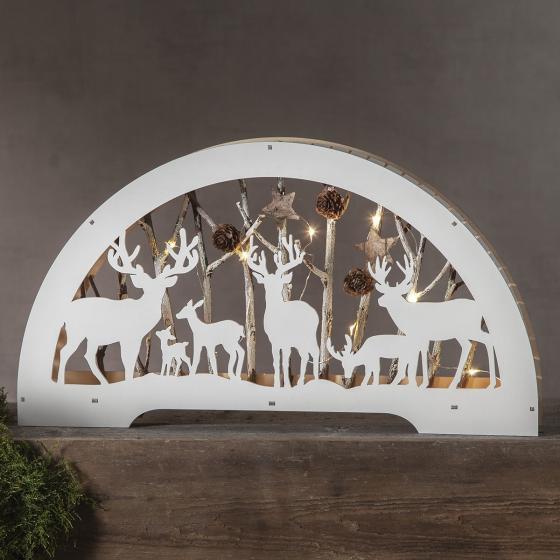 LED-Dekoleuchter Rentiere, 45x6x25 cm, Holz, weiß