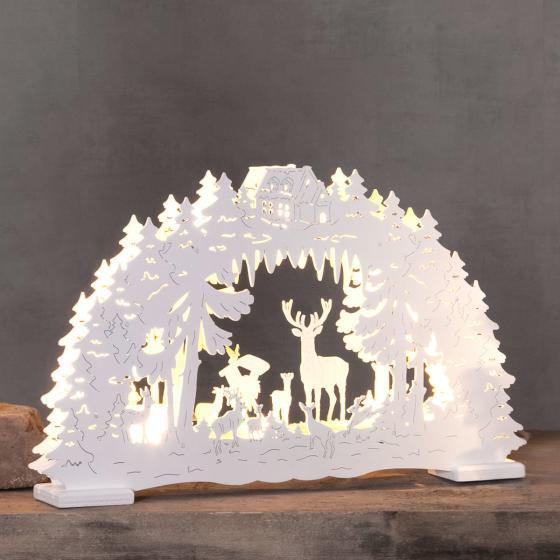 LED-Fensterleuchter Waldtiere, 26x42x5 cm, Holz, weiß