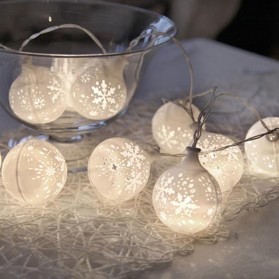 LED-Lichterkette Snowflake, 135 cm, Kunststoff, weiß