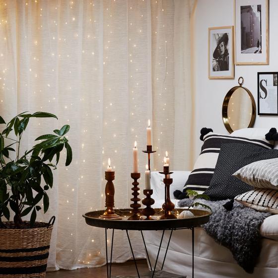 Micro-LED-Vorhang Dew Drops, 200x100 cm, Kunststoff, silber