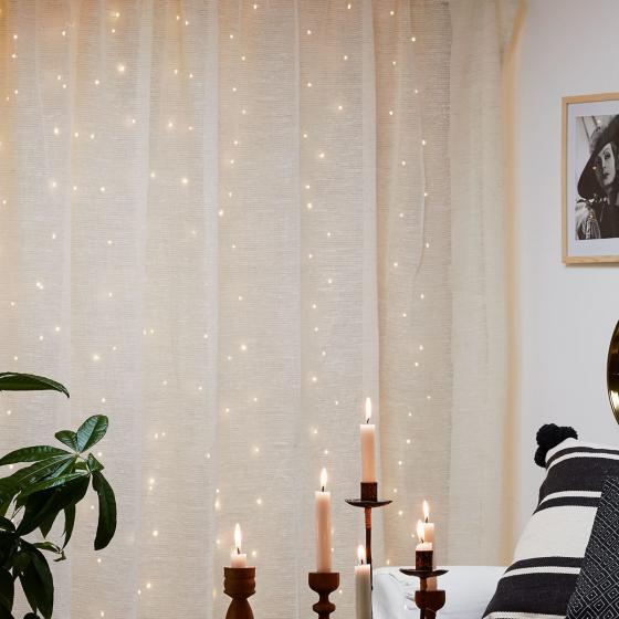 Micro-LED-Vorhang Dew Drops, 100x100 cm, Kunststoff, silber