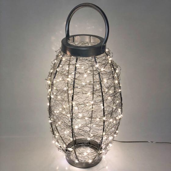 LED-Laterne Sternenhimmel, 25x25x42cm, Edelstahl, silber