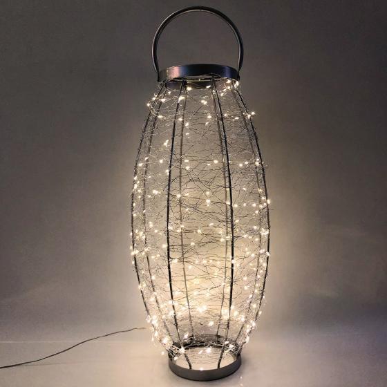 LED-Laterne Sternenhimmel, 30x30x58 cm, Edelstahl, silber