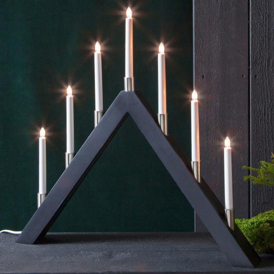 LED-Fensterleuchter Tall A, 66x63x7 cm, Holz, schwarz