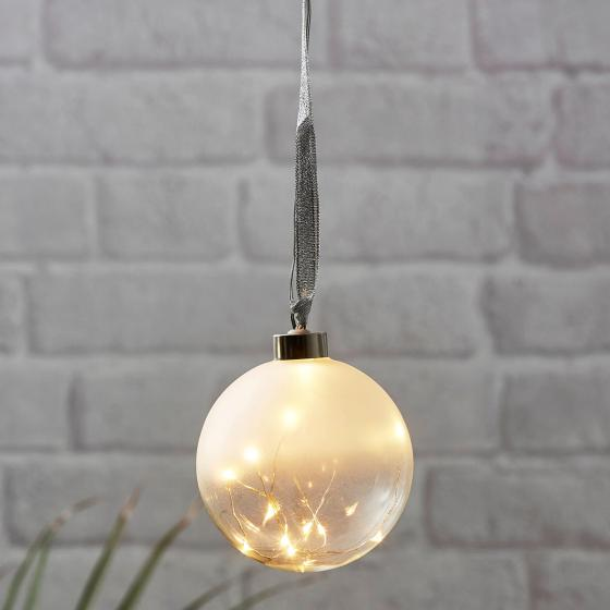 Star LED-Glaskugel White Glow, 10cm, Glas, frosted