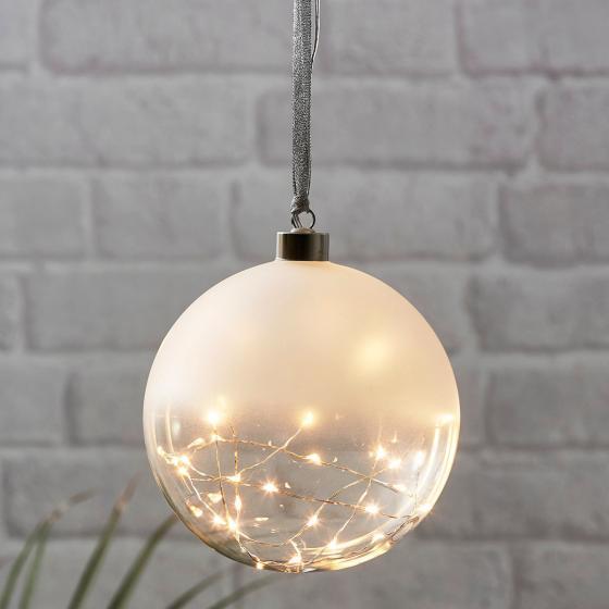 Star LED-Glaskugel White Glow, 15cm, Glas, frosted