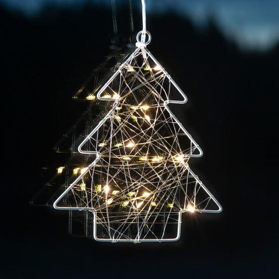 LED-Fensterdeko Wiry Tannenbaum, 202x17x2 cm, Metall, silber