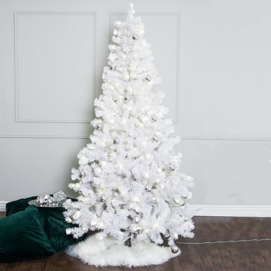 Star Künstlicher LED-Außen-Weihnachtsbaum Ottawa, 120x120x210cm, Kunststoff, weiß