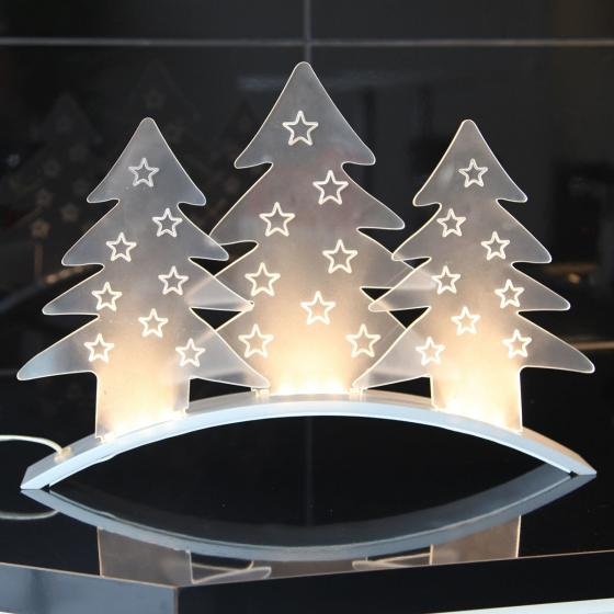 LED-Tischdekoration Plexi Trees, 40x5x29 cm, Kunststoff, transparent