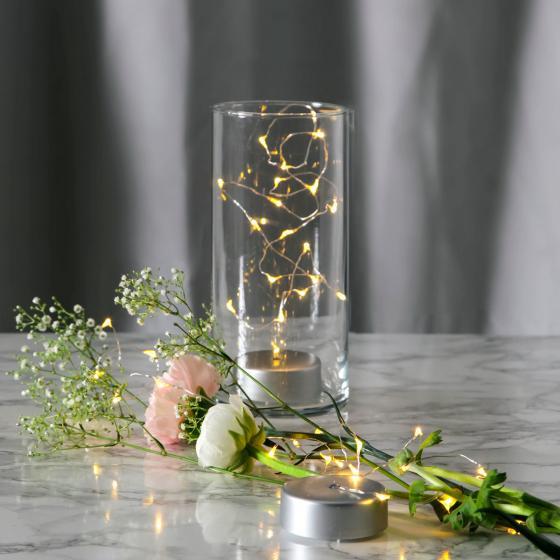 Star Micro-LED-Lichterkette für Glasvasen, 195 cm, Kunststoff, silber