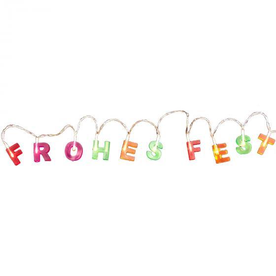 LED-Lichterkette Frohes Fest, 90 cm, Kunststoff, bunt