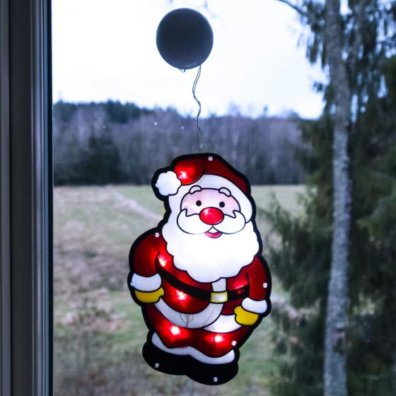 Star LED-Fenstersilhouette Santa, 27x17x0,5 cm, Kunstsoff, rot