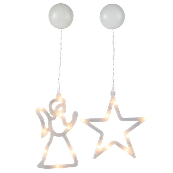 Star LED-Fenstersilhouette 2er-Set, Engel und Stern, Kunststoff, weiß