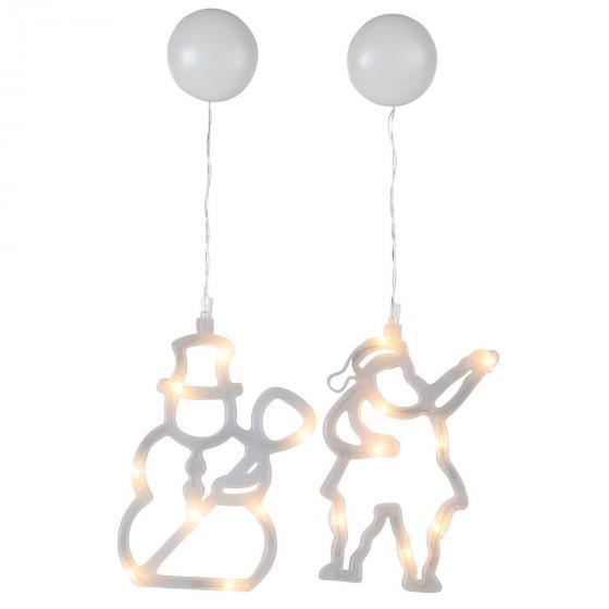 LED-Fenstersilhouette 2er-Set, Schneemann und Santa, Kunststoff, weiß