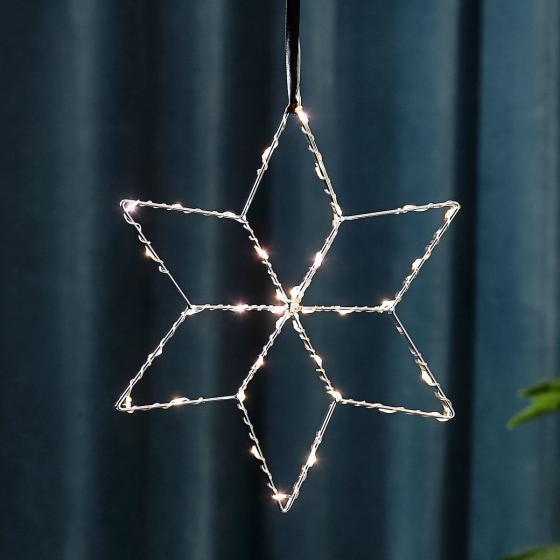 Star LED-Leuchstern Lolly, 28 cm, Metall, silber