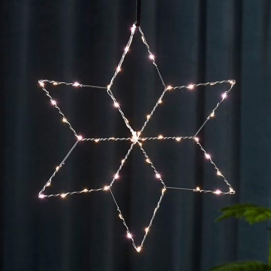 Star LED-Leuchstern Lolly, 45 cm, Metall, silber
