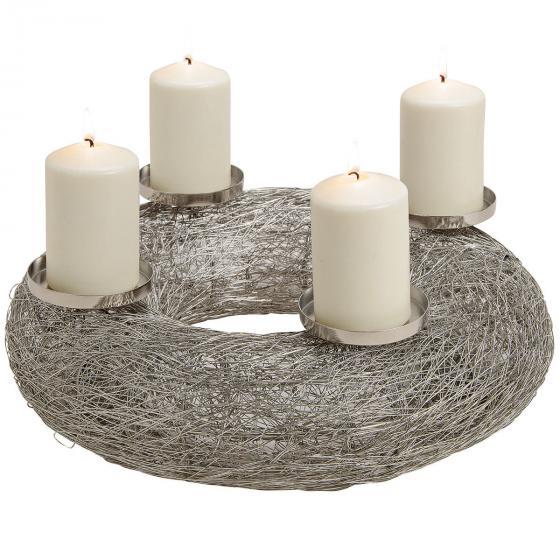 Adventskranz Silberdraht, 13x42x42 cm, Metall, silber