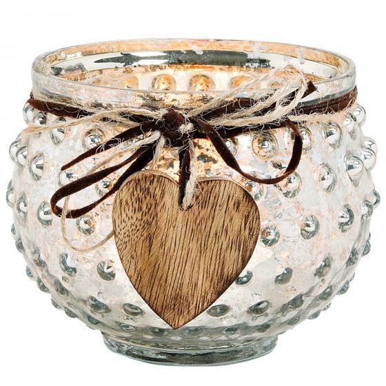 Windlicht mit Dekoherz, 13x13x10cm, Glas, silber