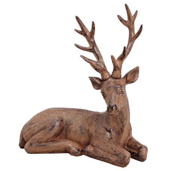 Hirsch liegend ,34x32x15 cm, Polyresin, braun